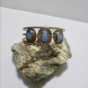 Open Cuff Bracelet Silver Tone Opal Look Stones